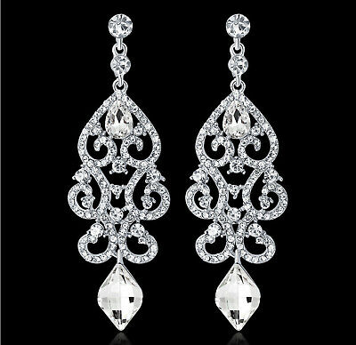 Y Silver Austrian Rhinestone Chandelier Dangle Earrings Prom Pageant Wed E38