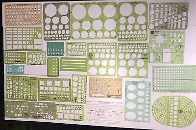 Huge Lot Of 56 Vintage & More Drafting Architectural Engineering Tools Templates