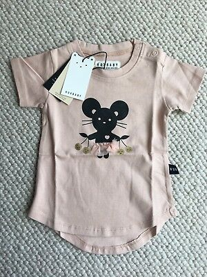 Baby Girl's Huxbaby Short Sleeve Mouse T-Shirt Tearose Size 0 6-12 Months