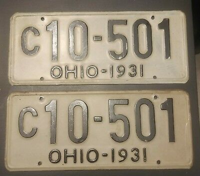1931 Ohio License Plate Matched Pair