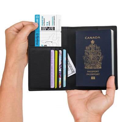 RFID Blocking Genuine Leather 7Slot Passport Card ID Holder Wallet Cover