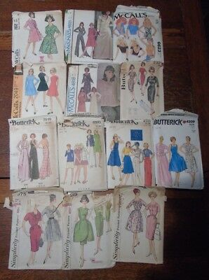 Vintage Lot of 13 McCalls Butterick and Simplicity Sewing Patterns 1960s - 1970s
