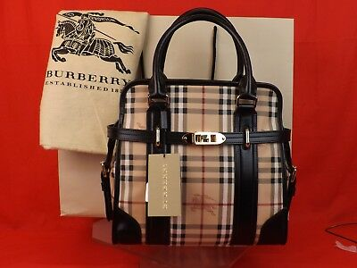 f1bd2353eed4 Burberry Brown Check Haymarket Leather Coated Canvas Portrait Minford Tote  Bag