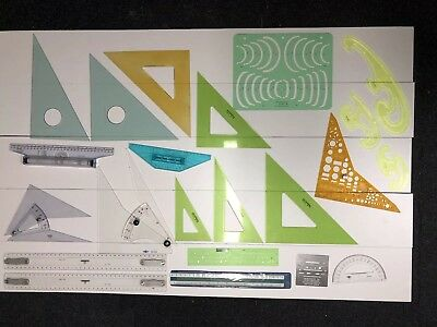 Huge Lot Of 22 Vintage & More Drafting Architectural Engineering Tools Templates