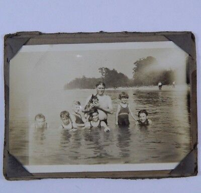 Vintage Original Photograph Dad & Kids at Beach Schnauzer Family Dog Early 1900s