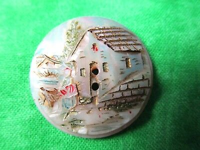 6265 – Lovely Old Hand Carved Home, Lady, & Dog Iridescent Shell Button