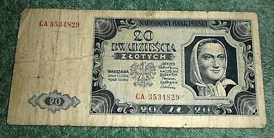 JB RFM 62757 Poland 1948 20 Zlotych Bank Note VG Condition. Pick 137. We are cur