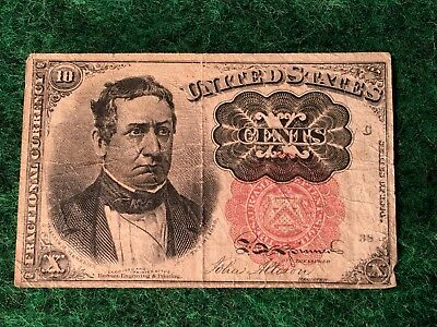 1874 U.S 10 Cent Fractional Currency Note William Meredith Fifth Issue Nice Cond