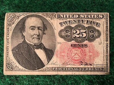 1874 U.S 25 Cent Fractional Currency Note Robert Walker Fifth Issue Nice Cond #D
