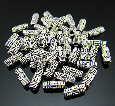Column 8MM beads Findings silver Spacer FREE Crafts Tibetan Pendant 50PCS hollow