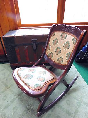 Antique Victorian Folding, Rocking, Sewing Chair with intricate Tapestry