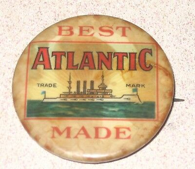 Best Made Atlantic Tobacco Celluloid Pinback Button not a Tin Tag but rare early
