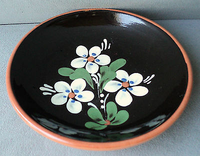 Vintage SAROSPATAK Hungary Art Pottery Dish Handpainted Flowers Red Clay -Estate