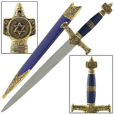 King Solomon Word to the  Wise Medieval Crusader Religous Blue  Dagger Replica