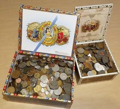 24 Pounds / Lbs Lot of World Foreign Coins in Two Cigar Boxes! Huge Bulk Lot!