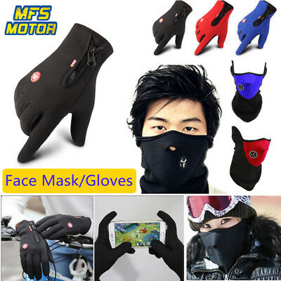 Motorcycle Outdoor Winter Men Women Touch Screen Gloves Face Mask Bike Cycling *
