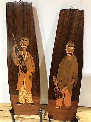 VINTAGE Retro Mid Century WOODEN INLAYED MusIcal CLOWNS WALL HANGING!