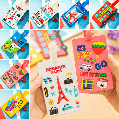 Silicone Travel Luggage Bag Name Address Label Card Holder Baggage Tag Cartoon