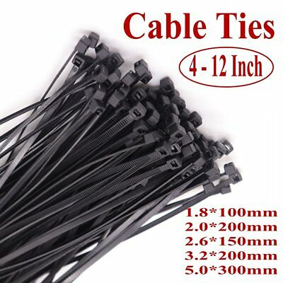 4 - 12 Inch Cable Ties UV Weather Resistant Nylon Plastic Black Stabilised Ties