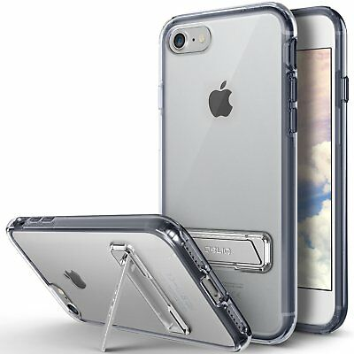 OBLIQ® iPhone 7, iPhone 8 [Naked Shield S]Clear Case Metal Kick stand Dual Layer