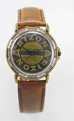 Arizona Jean Co. Watch Mens Stainless Gold Silver Brown Leather Water Re Quartz