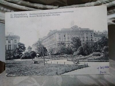 1907 Russia Postcard St Petersbourg Hotel Cancelled