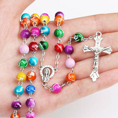 1pcs Pearl Rosary Beads Rosary Necklace Catholic Prayer Glass Beads Silver Chain