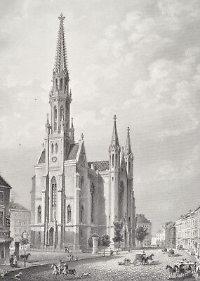 St. Petri Kirche in Berlin Original Antique Print 1877 Gertraudenstraße church