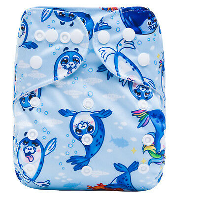 Modern Cloth Reusable Washable Baby Nappy Diaper & Insert Little Baby Blue Seals