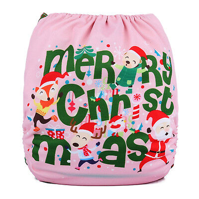 LIMITED CHRISTMAS Modern Cloth Reusable Baby Nappy & Insert, Pink Xmas Wrapping