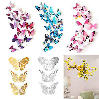 12X 3D Butterfly DIY Wall Stickers Quotes Kids Home Girls Room Decor Decorations