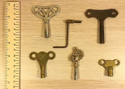 Vintage Brass Metal Winder Clock Keys.   Qty 6                         (MJ366)