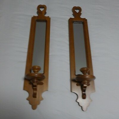 Vtg Pair Tell City Indiana Maple Wall Candle Sconces Mirror Heart 3103 Andover