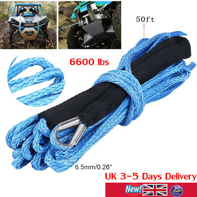 "50ft×6.5mm(1/4"") Nylon Synthetic Winch Line Cable Rope 6600 lbs Fits Car ATV UTV"