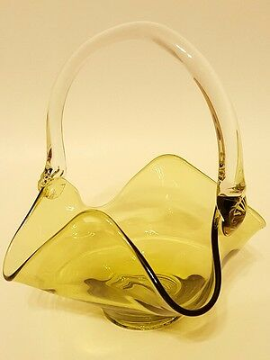 """Vintage Near Cut Clear Pressed Glass Basket Applied Handle Included Bubbles 6"""""""