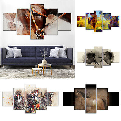 Horse Animal Abstract Canvas Print Painting Framed Home Decor Wall Art Poster