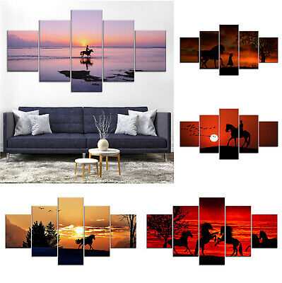 Sunset Horse Animal Canvas Print Painting Framed Home Decor Wall Art Poster 5Pcs