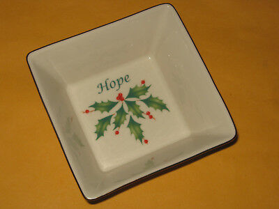 """Lenox Dimension Collection Holiday square Hope dish 4"""" fine china Christmas"""
