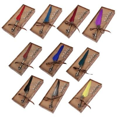 Feather Writing Fountain Caligraphy Dip Pen Quill W/ ink 5 Nibs Box Set Gift XX