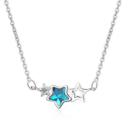 Solid 925 Sterling Silver Sweet Elegant Blue Zircon Star Pendant Necklace Gift