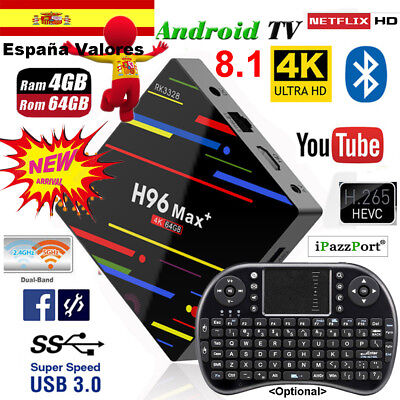 H96 MAX Plus 4GB+64GB Android 8.1 TV Box 4K Media Player Dual WIFI 5G+keyboard