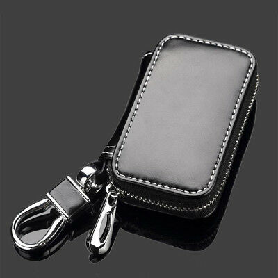 Stylish Genuine Leather Car Key Fob Case Cover Keychain Zipper Bag Protector New