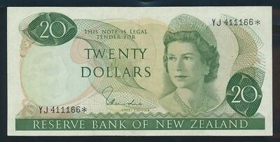 """New Zealand: 1977 $20 Hardie RARE STAR* """"YJ"""" LUCKY NO.""""111"""". P167dr EF Cat $120+"""