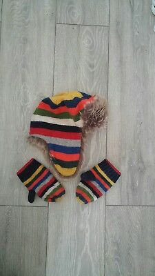 Boys Gap Trapper Hat And Mittens Set 4-6 Years RRP £20 M/L 53cm Stripey Winter
