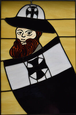 Templar Sargeant Leaded Stained Glass Panel