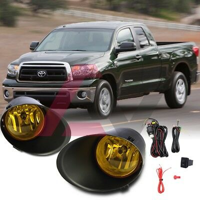 Fit Toyota Tundra 07-13 Yellow Lens Pair OE Fog Light Lamp+Wiring+Switch Kit