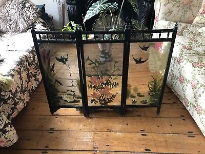 Victorian foxed mirror painted ebonised fire screen Swallows Gothic
