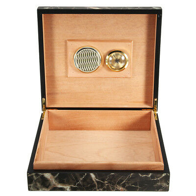 Lined Cigar Storage Case Box Humidor Humidifier + Hygrometer Marble Cedar Wooden