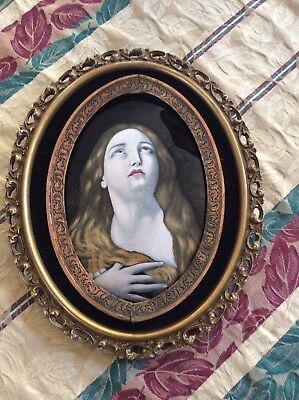 ANTIQUE HAND-PAINTED LIMOGES ENAMEL/COPPER PLAQUE- PORTRAIT Blond WOMAN