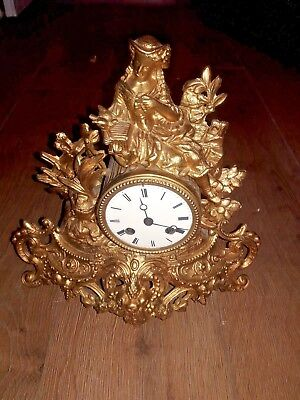 Antique Madaille De  Bronze Gilt French Face Enamel Clock With Key and Pendulum